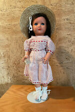 """Vintage 17"""" Turtle Mark Celluloid Girl with Googlie Eyes & Human Hair Wig"""