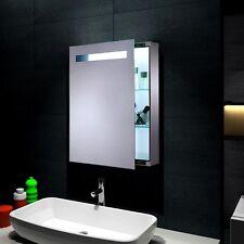 Design Spiegelschrank mit LED Beleuchtung 45x70cm Metallgehäuse in Silber 0811A