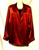 WOMEN'S NOTATIONS RED AND BLACK LONG SLEEVE 2-FER LAYERED SATINY BLOUSE SIZE XL
