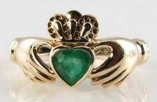 9K 9CT GOLD COLOMBIAN EMERALD CLADDAGH VINTAGE INS RING FREE RESIZE