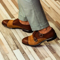 NEW-Handmade Mens Two tone Monk dress Shoes, Men leather and Suede formal Shoes