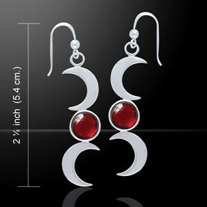 Triple Crescent Moon .925 Sterling Silver Earrings by Peter Stone