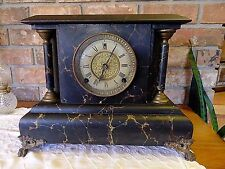 Antique Gilbert Puritan Mantel Clock 4 parts or repair good label runs shortly