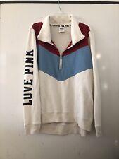 Victoria's Secret Pink sweatshirt red white blue chevron hoodie M   EUC