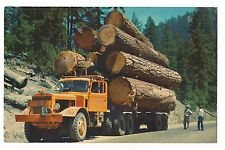 LOGGING TRUCK Diesel Pacific Northwest Logs Mountains  Postcard