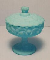 Vtge.Fenton Blue Slag Milk Glass Cabbage Rose Pedestal Covered Candy Nut Dish