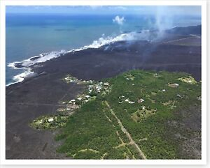 Kilauea Volcano Remains Of Kapoho Bay Subdivision Silver Halide Photo 2018
