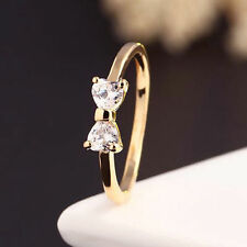 Gold Plated Finger Bow Ring Wedding engagement Zircon Crystal Ring