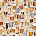 """On Tap! Craft Beer Mugs & Glasses Fabric! 1 yd x 44"""" Cotton BTY! Awesome Details"""