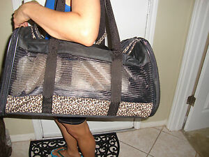 New without tags Dog Cat Pet Carrier Black Bag animal print Microfiber Tote