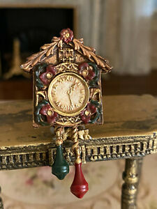 Vintage Miniature Dollhouse Hand Sculpted Pewter Scotland Cuckoo Clock Painted