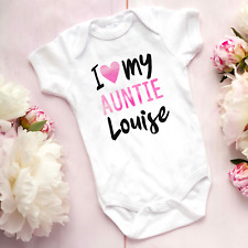I love my auntie personalised name baby vest bodysuit grow shower gift