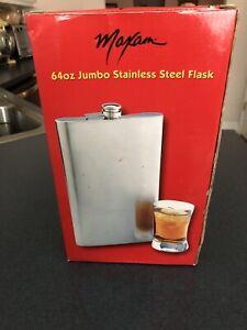 Maxam® 64oz Jumbo Stainless Steel Flask *Giant Size 1/2 Gallon*
