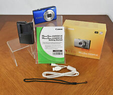 Blue Canon PowerShot A4000 IS 16 MP 8x Zoom Digital Camera with Charger & More