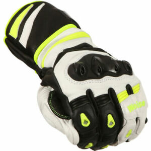 CLEARANCE - WEISE LANCER WHITE LEATHER MOTORCYCLE SPORTS TOURING GLOVES