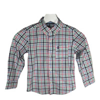 Carters Boys Shirt Button Down Long Sleeve Pink Blue Plaid Toddlers Top Size 4T