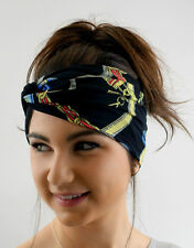 Jersey Turban HeadBand Black Couture Chain Twist Head Wrap Yoga High quality