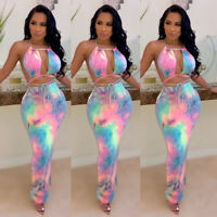 Women Tie-Dye Printed Halter V Neck Bandage Bodycon Summer Club Party Long Dress
