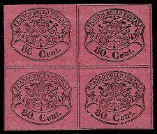 PAPAL ROMAN STATES, 80 CENT., ROSE PAPER, YEAR 1867, BLOCK OF 4, MINT
