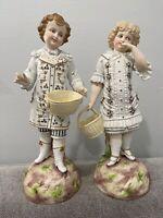 Antique German Bisque Porcelain Pair of Large Figurines Boy & Girl w/ Baskets