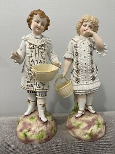 Antique German Bisque Porcelain Pair of Large Figurines Boy & Girl w/ Baskets
