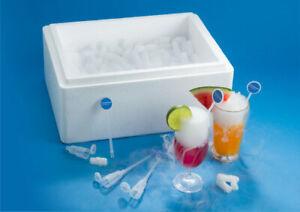 Cocktailbox mit 8Kg Trockeneis Nuggets 16mm und 20 Bubbler Sticks
