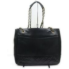 Vintage Chanel Shoulder Bag Chain Tote Black Lamb Skin 1408958