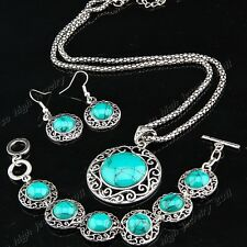 New Arrival Antique Silver Turquoise Earring Necklace Bracelet Women Jewelry Set