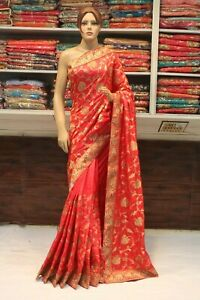Bollywood Silk All Over Zari Work Saree Indian Designer Sari Bridal Party Dress