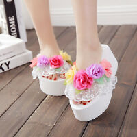 Womens Lace Muffins Flower Platform Wedge Heels Beach Flip Flops Sandals Slipper