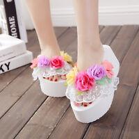 Womens Lace Muffins Flower Platform Wedge Heels Beach Flip Flops Sandals Slipper