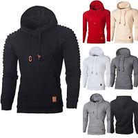 Mens Long Sleeve Slim Fit Hoodies Hooded Sweatshirt Sweater Pullover Coat Tops