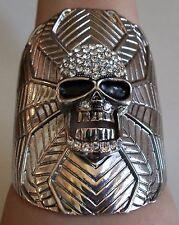 Fashion Silver Finish Crystal Hip Hop Skull  Bangle Bracelet