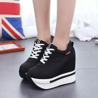 Womens Sneaker Ankle Boot Platform High Wedge Heels Korean Shoes Lace Up Fashion