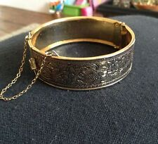 Vintage Etched Flower Gold Tone With Safety Chain bracelet