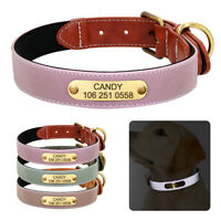 Leather Reflective Engraved Dog Collar Personalised ID Nameplate Tags Adjustable