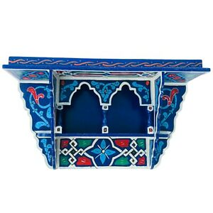 Painted Moroccan shelf, Blue  Wall Shelves Floating ,Rustic Floating Small