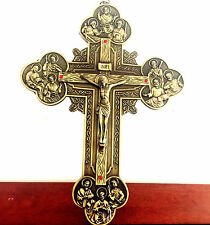 "Large 11"" Crucifixion of Jesus Christ Decor vintage Bronze wall cross Catholic"