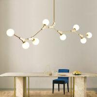 8 Light Glass Globe Branch Modern Chandelier Metal Pendant Light Ceiling Fixture