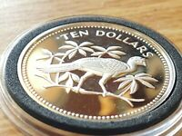 SUPERB PROOF 1974 BELIZE STERLING SILVER 10 DOLLARS  GREAT CURRASOW with HOLDER
