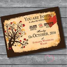 Personalised Beautiful Tree Style Brown Wedding Invitations / Invites PK of 10
