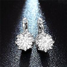 Women's Crystal 925 Silver  Silver Plated Ear Stud Hoop Earrings Jewelry Gift