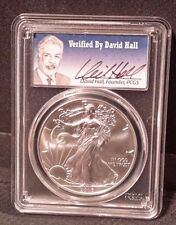2016 $1 Silver Eagle Hand Signed by DAVID HALL PCGS MS 70 Tiny Pop of 693