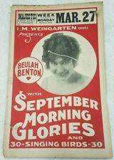 "Antique 1916 Beulah Benton Majestic Theatre collectible ephemera 22""x14"" poster"