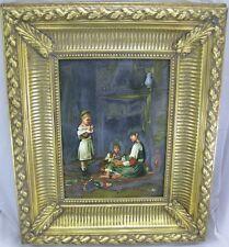 D. Goetz Gemälde 3x Kinder Mädchen spielen mit Seifenblasen Prunkrahmen Öl/ Holz