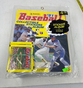 New Sealed 1991 Panini Baseball Sticker Album Unopened w/ 10 Packs Of Stickers