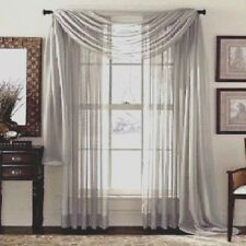 "PALE GREY/SILVER SOFT FOLD VOILE WINDOW SCARF PELMET 60""WIDE 3 M / 5 M LENGTHS"