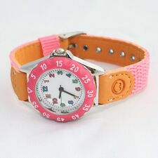 Brand New Pink Fabric Strap Kids Girl Frist Watch Learn Time Student Watch U32LP