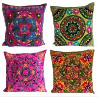 large Indian Suzani Ethnic Cushion Cover Covers Embroidery Mirror 60x60 cms