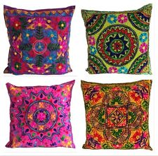Indian Suzani Mandala Cushion Covers Cotton Sequin Embroidered Boho 60 x 60 cms
